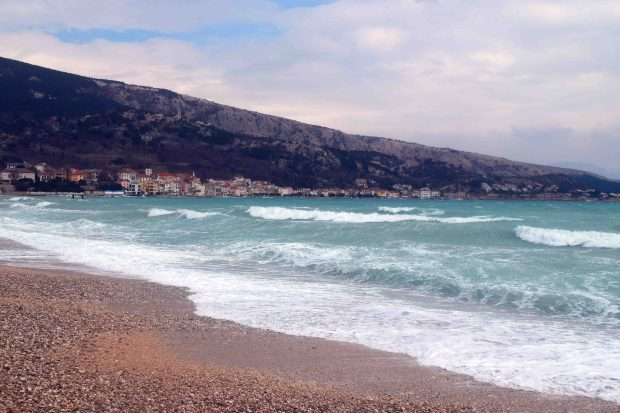 Waves of Baska Krk island Croatia